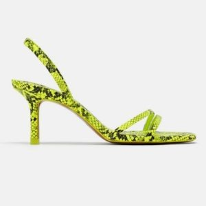 Zara 2019 neon snake print strappy heels